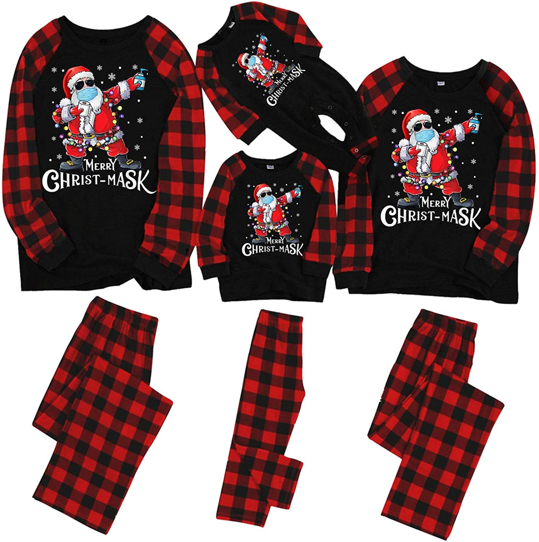 Xiangdanful Matching Family Christmas Pajamas Set Long Sleeve Top and Pants Loungewear Holiday Matching Sleepwear Outfits 1