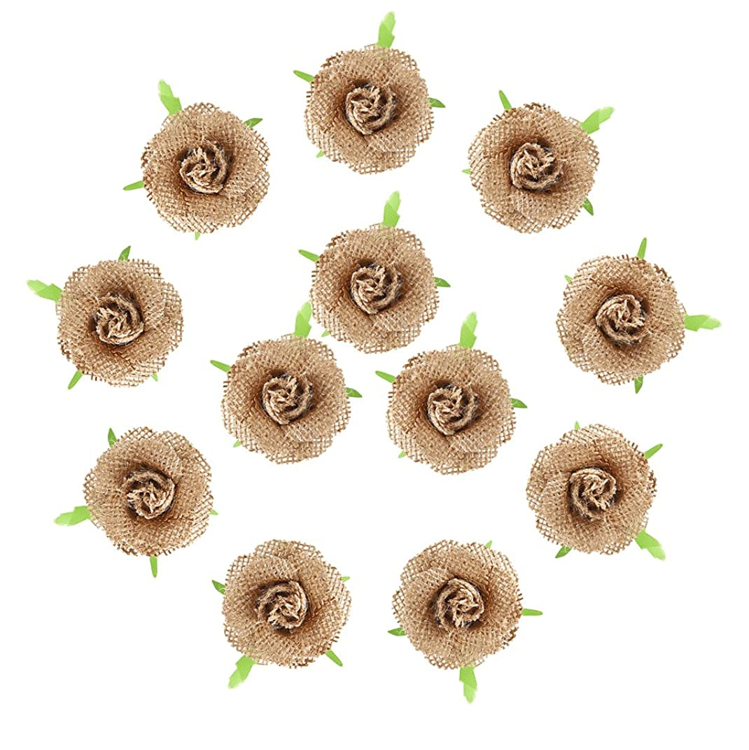 DECORA 12 Pieces Handmade Hessian Burlap Solid Flowers with Plastic Leaf for Wedding Decoration Craft Making and DIY Stuff Making