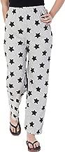 Fflirtygo Night Pyjamas for Women, Night Dress, Lounge Wear, Black Color Star Printed On Grey Pyjama,–Soft Cotton Night Wear