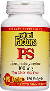 Natural Factors, Phosphatidylserine, Support for Memory, Concentration and Brain Functions, Soy and Gluten Free, 120 softg...