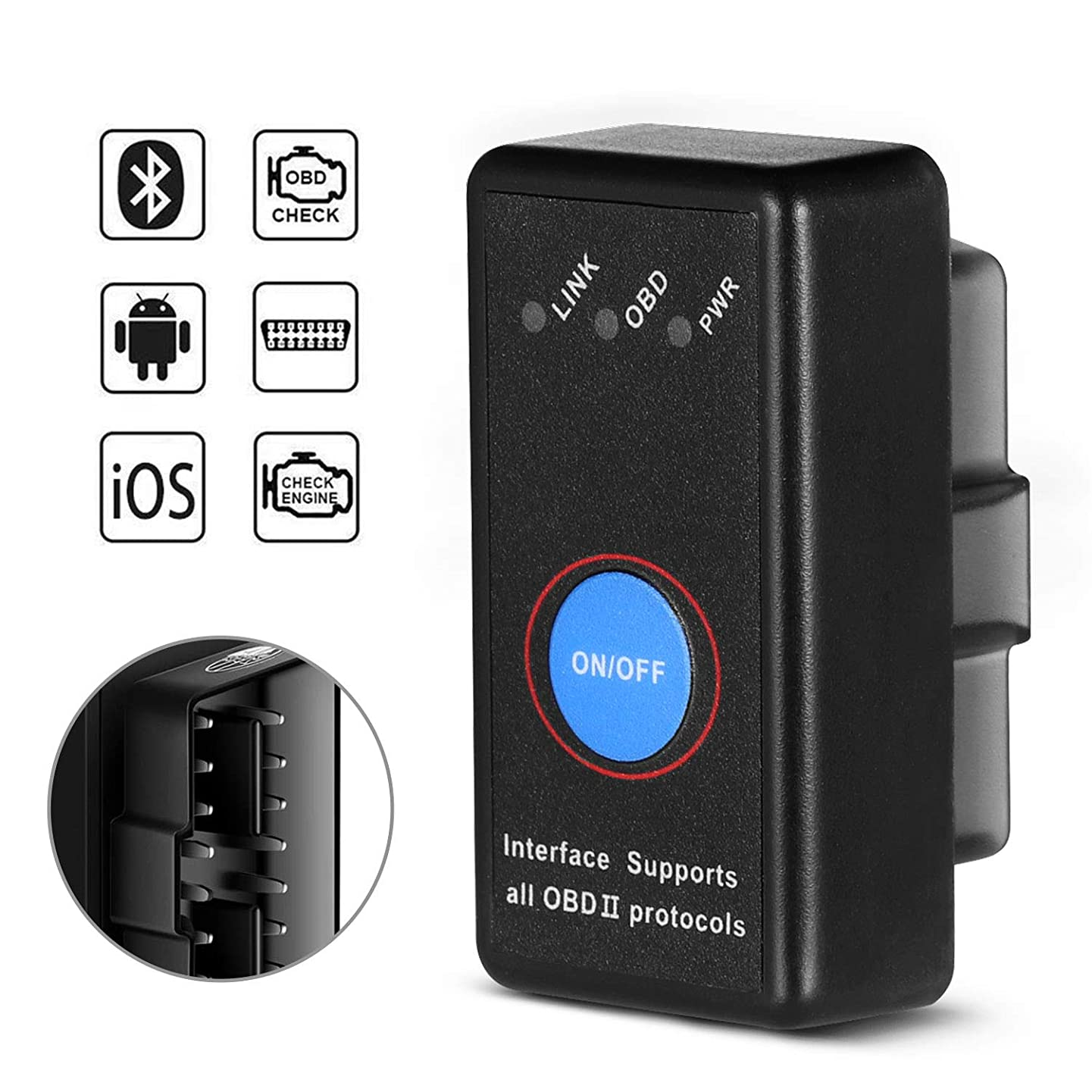 SAVFY Bluetooth OBD2 Scanner Equal to ELM327 OBDII Adapter Diagnostic-Tool Car Engine Code Reader Tester for iOS & Android