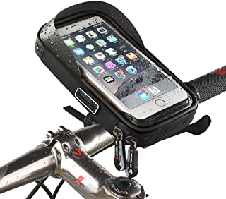 Bike Handlebar Bag, MOOZO Universal Waterproof Cell Phone Pouch Bicycle & Motorcycle Handlebar Phone Mount Holder Cradle with 360 Rotate for iPhone XS MAX XR X 8 7 6S Plus Samsung Smartphone up to 6''