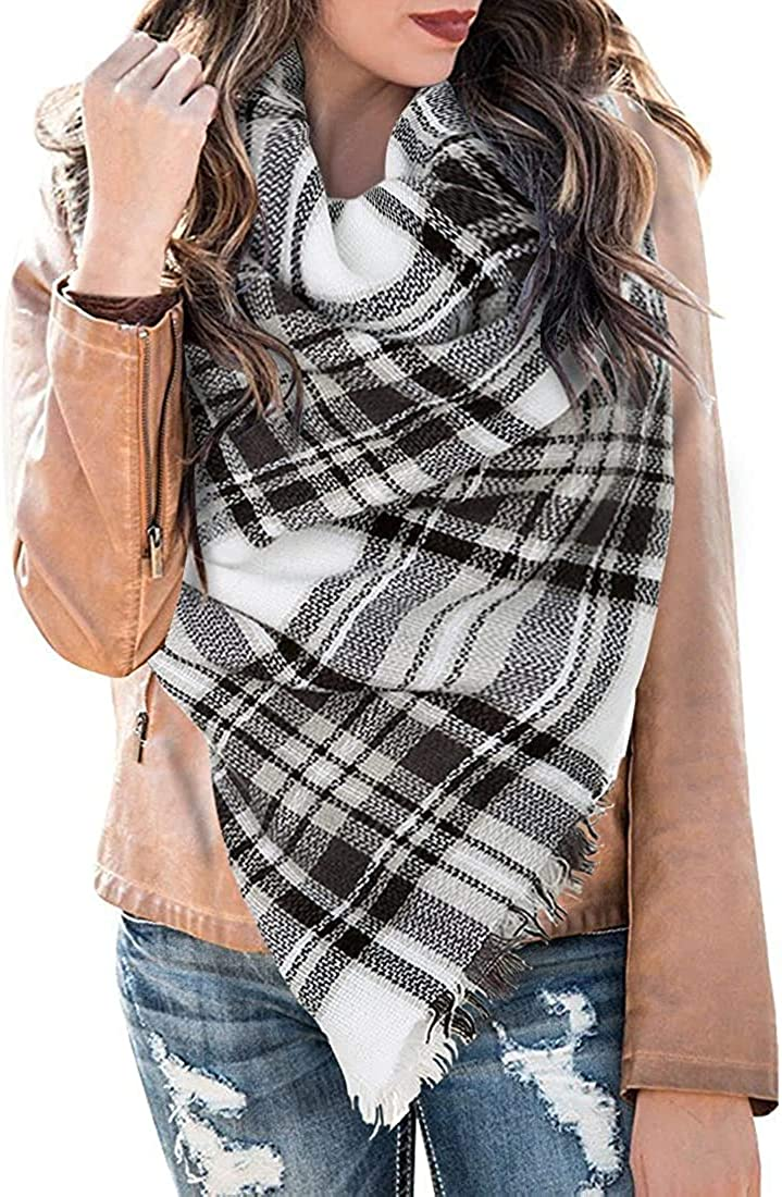Womens Plaid Blanket Scarf Buffalo Winter Fall Classic Tassel Infinity Wrap Shawl Tartan Scarves