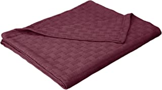 Superior 100% Thermal, Soft and Breathable Cotton for All Seasons, Bed and and Oversized Throw Blanket with Luxurious Basket Weave Pattern, Twin, Plum