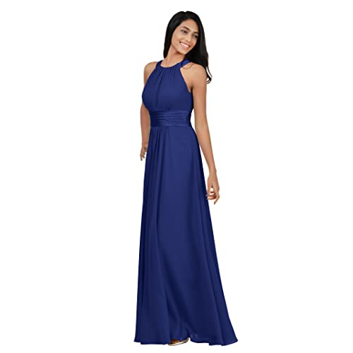 4136eefc39e Alicepub Bridesmaid Maxi Dresses Long for Women Formal Evening Party Prom Gown  Halter