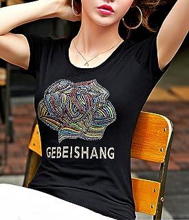 Heaven Days(ヘブンデイズ)Tシャツ カットソー 半袖カットソー 刺繍 ビジュー スパンコール 薔薇 ローズ ロゴ レディース 1706C0130