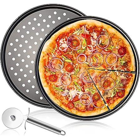 Plaques Rondes de Pizza Lot de 3,12 Pouces Plaque Cuisson Pizza Revêtement Anti-adhérent Assiettes À Pizza,Acier au Carbone Pizza Pan Outils de Cuisson,avec Roulette de Coupe à Pizza,Gris (2er Pack)