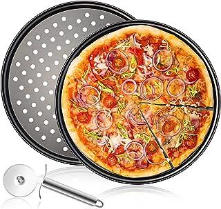 Plaques Rondes de Pizza Lot de 3,12 Pouces Plaque Cuisson Pizza Revêtement Anti-adhérent Assiettes À Pizza,Acier au Carbon...