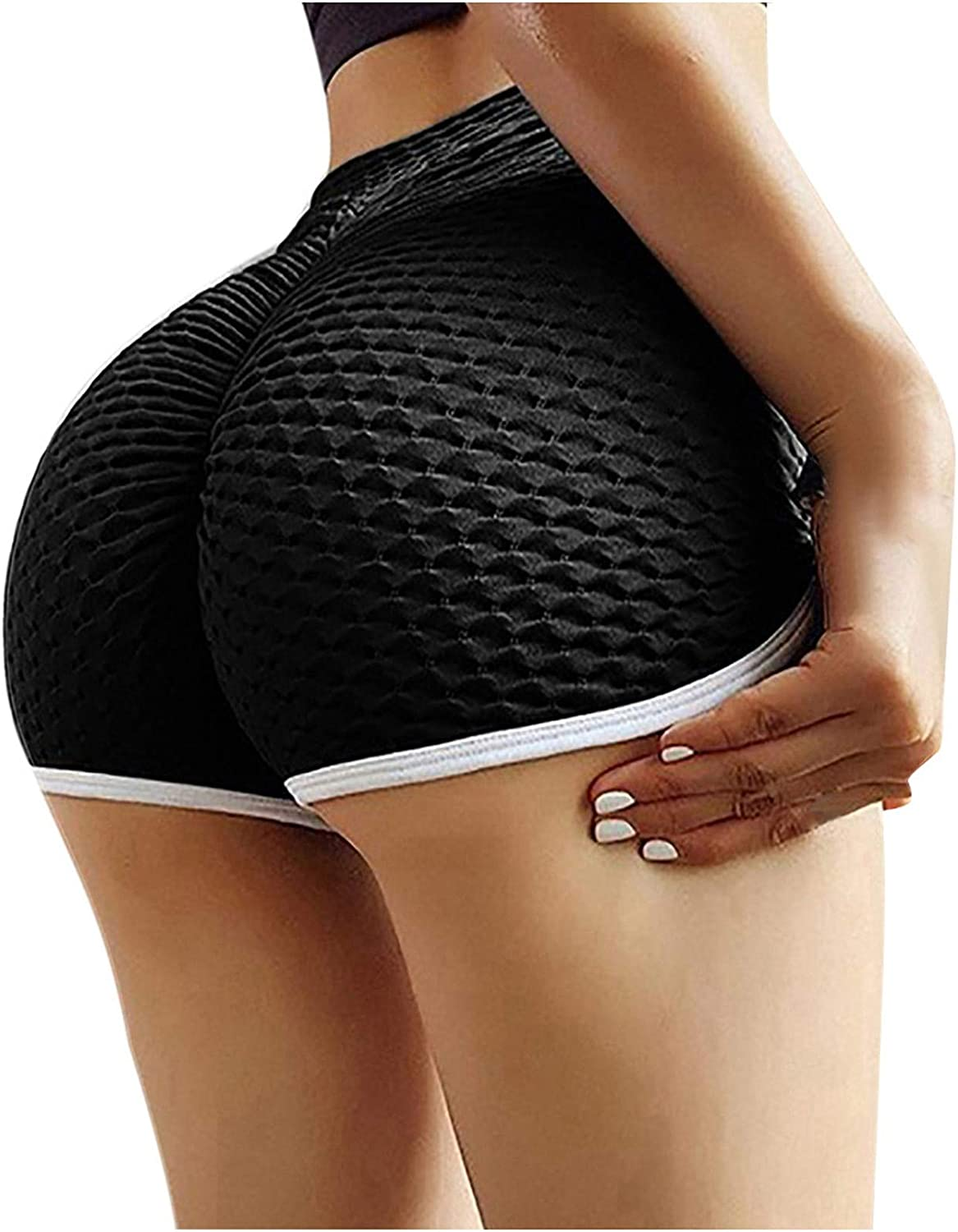 Women High Waisted Yoga Shorts Seamless Butt Lifting Tummy Control Gym Exercise Workout Active Leggings