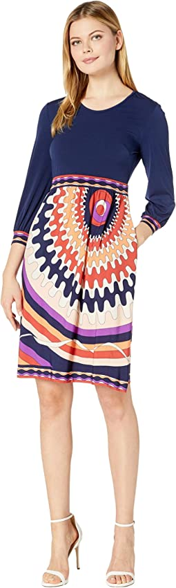 Long Sleeve Stretch Knit Jersey Fit-and-Flare with Contrast Top and Bottom Dress