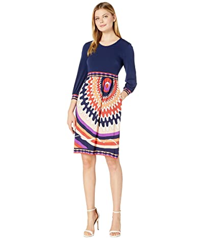 Donna Morgan Long Sleeve Stretch Knit Jersey Fit-and-Flare with Contrast Top and Bottom Dress (Purple/Coral) Women