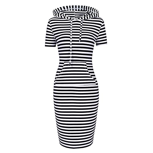 fab4b4f3bde Women Hooded Dress 3 4 Sleeve Sweatshirt Pullover Stripe Keen Length  Kangaroo Pocket Dress