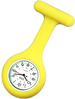 JAS Unisex Nurses Lapel Watch Silicone (Infection Control) Yellow