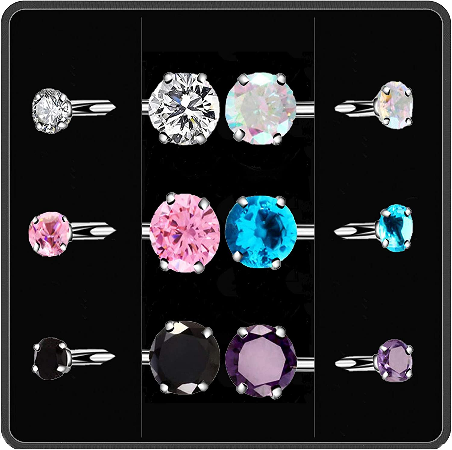6 Pcs Belly Button Ring, Surgical Stainless Steel Belly Rings for Women Girls with Crystal Diamonds, Body Piercing Round Cubic Zirconia Navel Barbell Stud as Ideal Jewelry Set Gift or Daily Wear