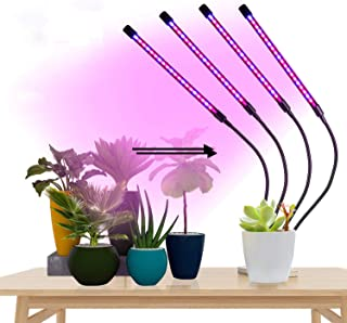 LED Grow Lights for Indoor Plants, GUHIDO 4 Heads Full Spectrum Plant Lights with Auto ON/Off 3/9/12H Timer, 9 Dimmable Br...
