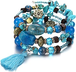 Turquoise Stackable Bracelets for Women - Vintage Multi Layer Colorful Beads Bracelets Bohemian Anklets Tassel Crystal Charm Birthstone Yoga Chain Stretch Beach Bangle