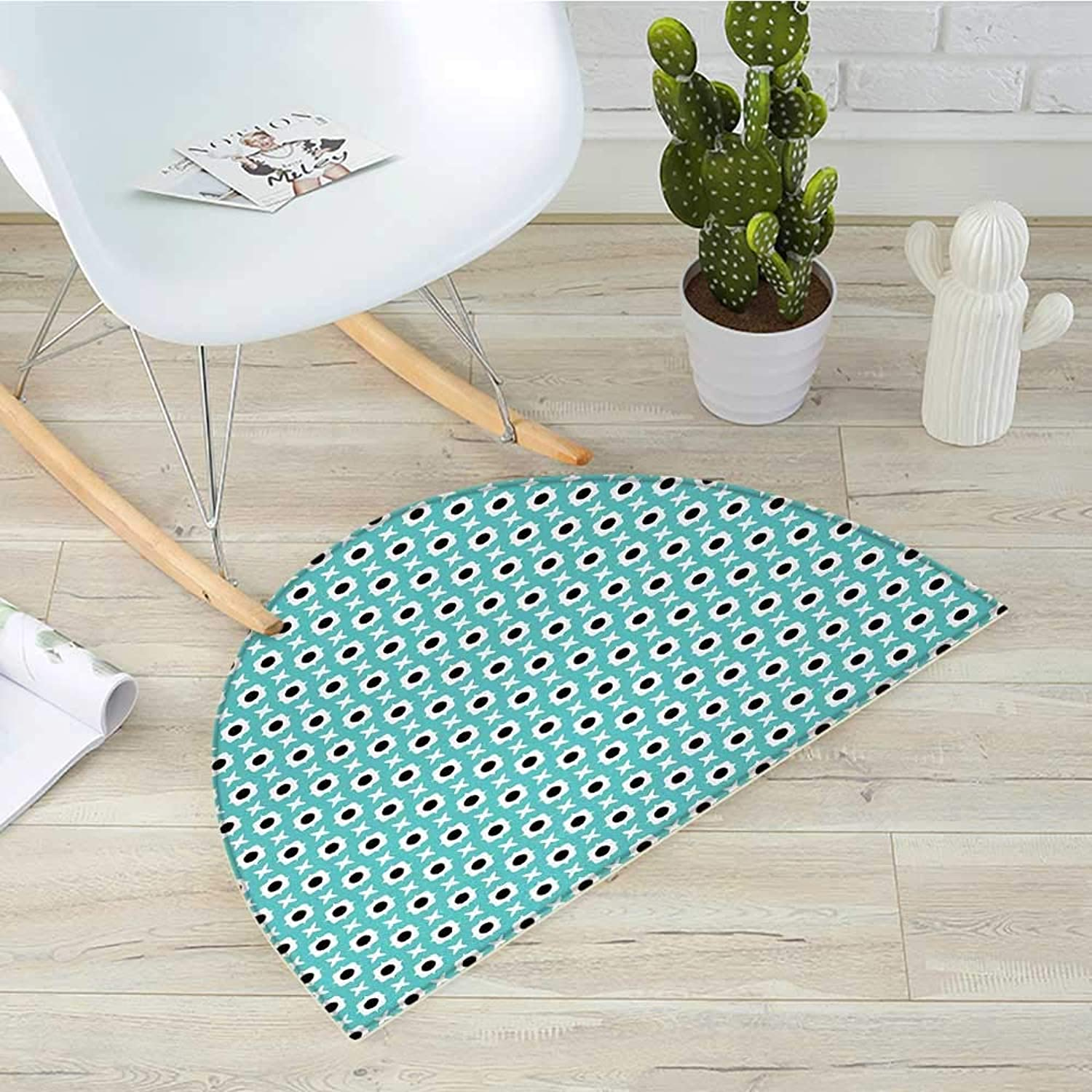 Retro Half Round Door mats Abstract Ornaments with Black Dots Inside Floral Motifs Symmetrical Tile Bathroom Mat H 43.3  xD 64.9  Pale bluee Black White