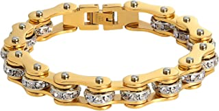 Epinki Bangle Bracelet for Stainless Steel Motorcycle Bike Chain with Crystal Chain Bracelets for Mens