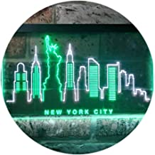 New York City Skyline Silhouette Dual Color LED Neon Sign White & Green 600 x 400mm st6s64-i3275-wg