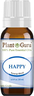 Happy Essential Oil Blend 10 ml 100% Pure, Undiluted, Therapeutic Grade. (Blend of: Pink Grapefruit, Lemon, Cassia, Ginger, Peppermint)