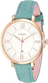 Fossil Women's White Dial Leather Band Watch