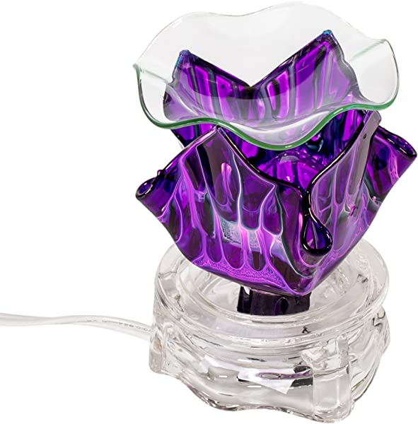 Purple 3 X 4 Glass Electric Wall Plug In Oil Burner With Dimmer Switch