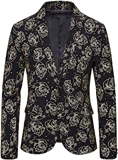 Men's Silver Peak Lapel Printed Blazer Two Buttons Prom Party Tuxedos Jacket Regular Fit Casual Coat