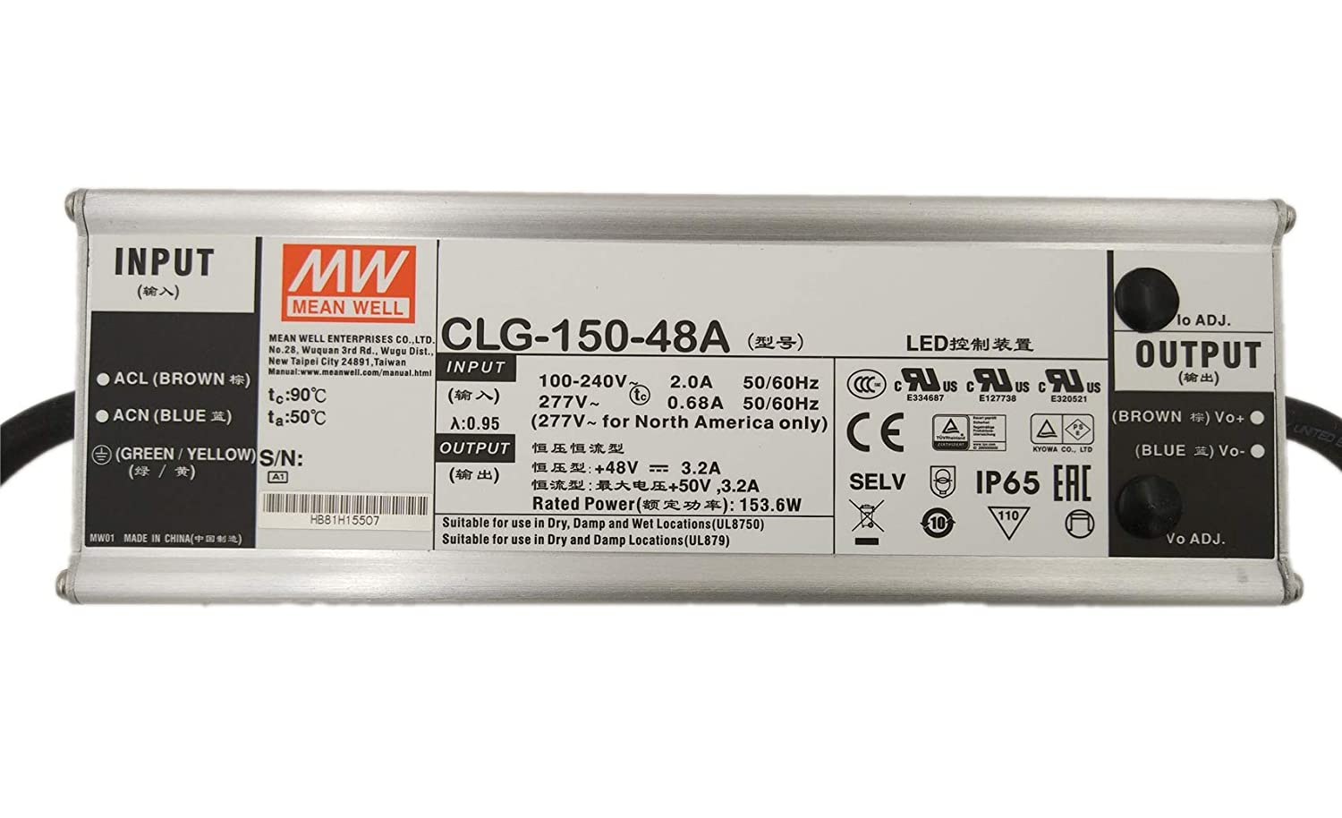 MEAN WELL CLG-150-48A 150 W Single Output 3.2A 48V Short Circuit Protection AC/DC Switch Power Supply - 1 item(s)