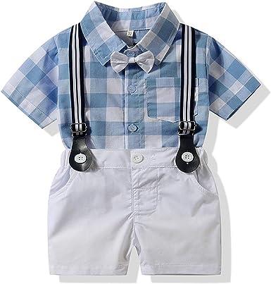 LEHOUR Bebés 2Pcs Trajes de Bautizo Camisa Bowtie Top + Tirantes Shorts Correa, Niños Formales Fiesta Outfit Gentleman Clothing Sets 0-24 M