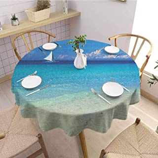 Nautical Washable Round Tablecloth Exotic Tropic Beach in Philippines Island Horizon Summer Paradise Concept Dinner Picnic Home Decor D59 Inch Round Turquoise Cream