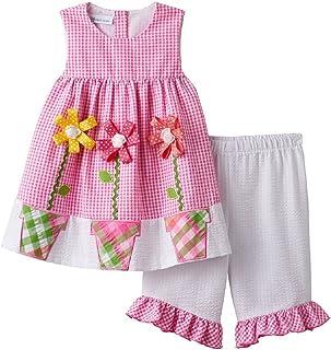 2dae7e122bb Bonnie Jean Girls  Sleeveless Seersucker Flower Appliqued Dress Capri Set
