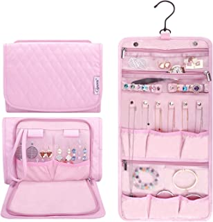 Caperci Hanging Travel Jewelry Organizer Case Pink Leather Foldable Jewelry Roll for Storage Travel, Necklaces, Rings, Earrings, Bracelets