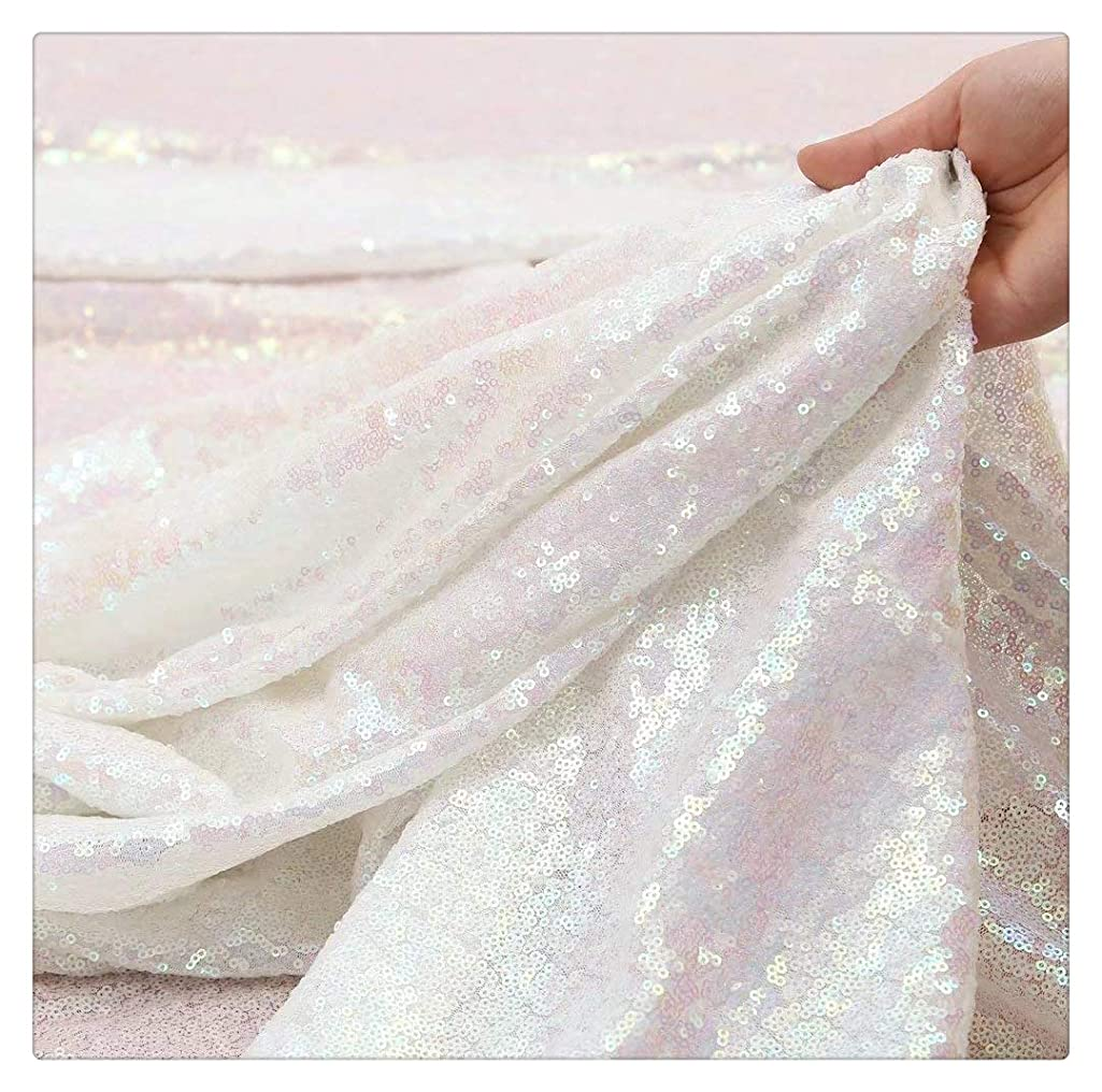 White Iridescent Sequin Fabric Sequin Backdrop Fabric Sequin Overlay Sheer Fabric Glitz Table Linen DIY Party Dress Fabric