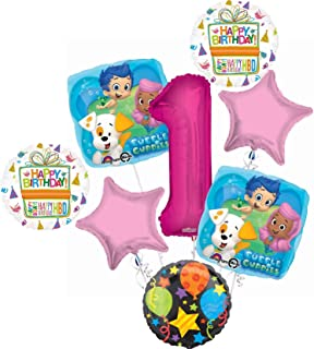 Bubble Guppies 1st Birthday Party Supplies Balloon Bouquet Decorations - Pink Number 1