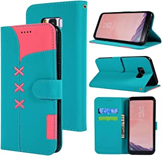 Phone Case Cover Fabric Stitching Embroidery Horizontal Flip Leather Case With Holder & Card Slots & Wallet for Galaxy S8(Red) Smartphone Shell Cover (Color : Light Blue)