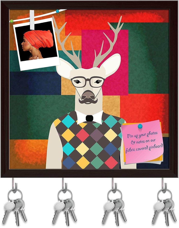 Artzfolio Deer Hipster Key Holder Hooks   Notice Pin Board   Dark Brown Frame 20 X 20Inch