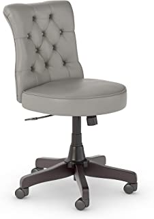 Bush Furniture Salinas Mid Back Tufted Office Chair in Light Gray Leather