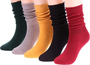 5 Pairs Women Knit Cotton Crew Socks Fashion Slouch Casual Socks, Size 5-10 S142