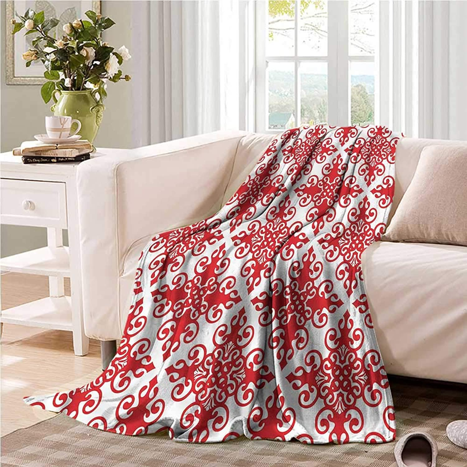 Oncegod Comfort Blanket Red Western Scroll Ornament Camping Throw,Office wrap 60  W x 51  L