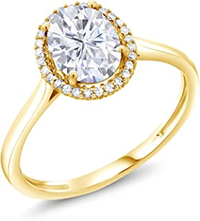 10K Yellow Gold Fashion Right-Hand Ring Forever Brilliant (GHI) Oval 1.50ct (DEW) Created Moissanite by Charles & Colvard