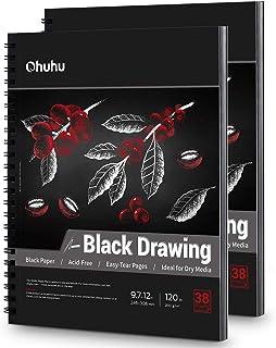 Czarny szkicownik 2 opakowanie, Ohuhu 25 cm x 30 cm czarny blok szkicowy, 38 arkuszy/76 stron, 120 LB/200 GSM twardy papie...