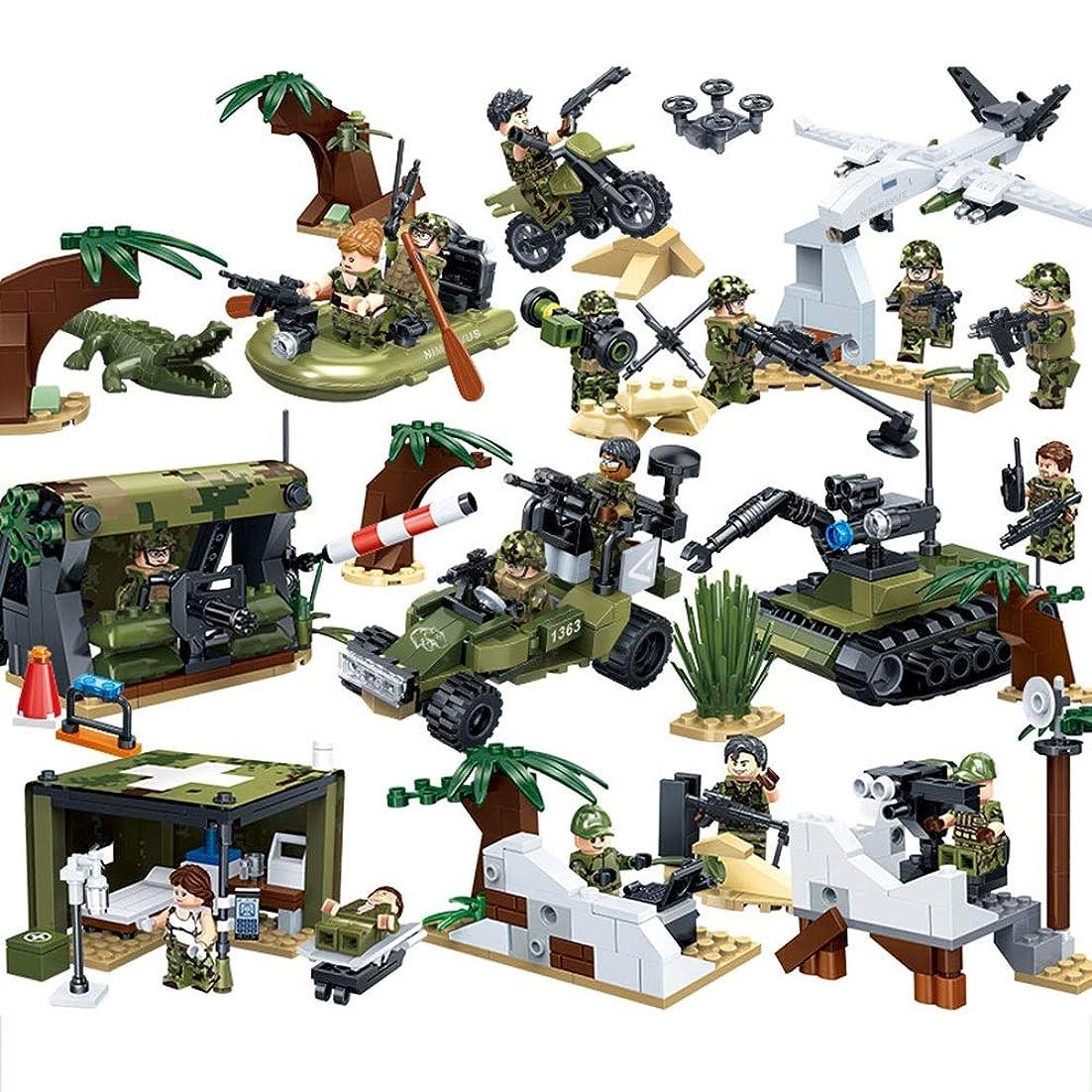 信者葉巻モディッシュROIIY ビルディング?ブロックの組み立て、子供の教育おもちゃ、タイガー狩猟アクション軍隊図、建物の玩具セット、ABS素材、男の子と女の子のための795pcsベスト新年のホリデーギフト