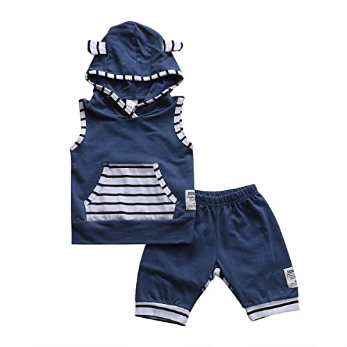 8b8f737b8326 Baby Boy Girl Fox Ear Sleeveless Stripe Hoodie Pullover with Pocket+ Short  Pants Outfit