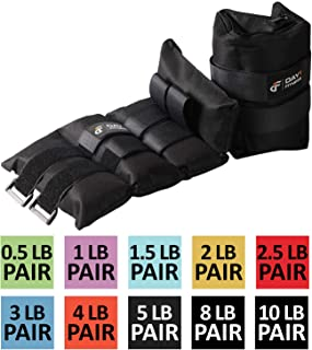 Ankle / Wrist Weight Pair by Day 1 Fitness- 10 Weight Options - 0.5 to 10 lbs EACH, Set of 2, Adjustable Straps - Breathable, Moisture Absorbent Weight Straps for Men and Women – Comfortable Weights