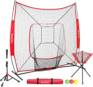 McHom 7ft x 7ft Baseball & Softball Practice Net Set with Travel Tee, 3 Weighted Balls & Strike Zone for Hitting, Pitching, Batting & Fielding Practice | Collapsible and Portable