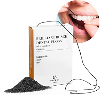 Brilliant Black Dental Floss for Teeth-Whitening, Natural with Activated Bamboo Charcoal for Whiter Teeth (Vegan Candelill...