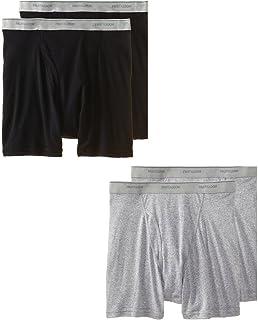 Fruit of the Loom Men's 4Pack Black Grey Boxer Briefs 100% Cotton Underwear