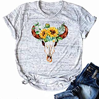 Vintage Cow Skull T Shirt Tops Women Sunflower Print Funny Graphic Tee Loose Casual Short Sleeve Shirts