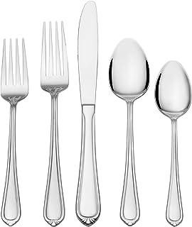 Gourmet Basics by Mikasa 5274595 Yvonne 20-Piece 18/0 Stainless Steel Flatware Set
