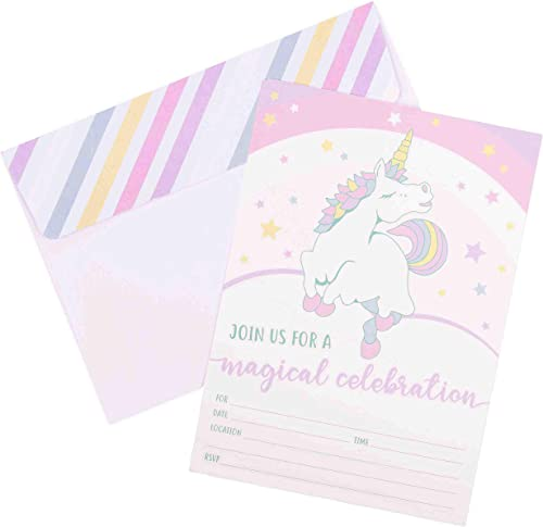 wholesale Unicorn Invitations for 2021 Girls Birthday Party - 20 Cards with wholesale Envelopes outlet sale